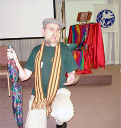 Philip Liebelt (above), National Co-ordinator from August 1996 through 2008. Philip is telling the beginning of 1 Kings 19:1--running away and hiding from Jezebel and Ahab at the 2007 Gathering epic telling.