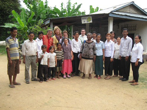 Half of our biblical storytelling mission team to Cambodia, members of Choeng Prey Methodist Church, and Irene (missionary from Zimbabwe) following worship. September 2011 (Photo courtesy of Tuy Masy, a member of the church.)